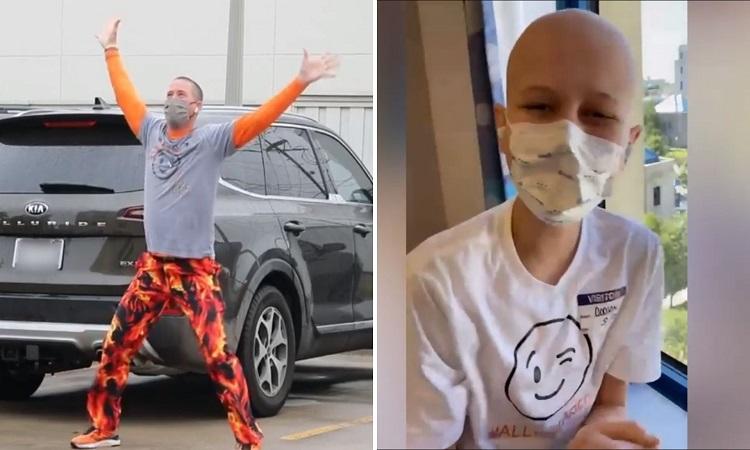 Padre bailar afuera del hospital para animar a su hijo que tiene leucemia