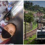 Profesora da clases en el Metro de Medellín y entrega materiales a sus estudiantes