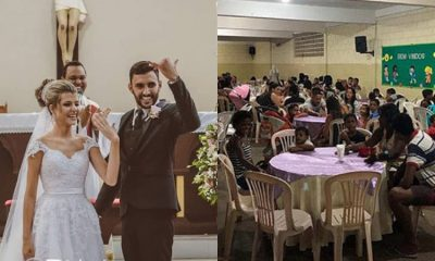 Pareja de recién casados festejaron su matrimonio dando una cena a personas necesitadas La Nota Positiva