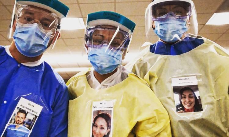 Profesionales de la salud exhiben sus rostros sonrientes en sus ...
