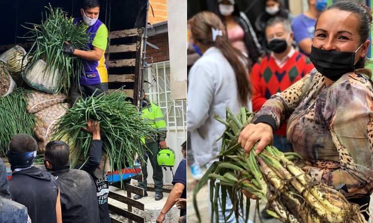 Familias en Bogotá reciben de campesinos boyacenses 50 mil kilos entre cebolla y papá
