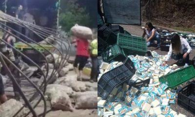 Ejemplo: ciudadanos en Cúcuta, Tolima y Pasto, ayudan a recoger cargas camiones volcados