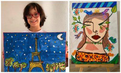 Niño colombiano cautiva con sus pinturas en redes sociales y sueña con abrir una galería