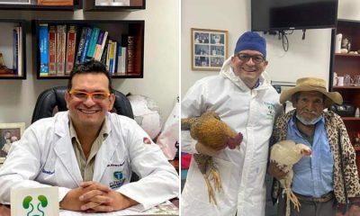 Abuelo regala dos gallinas al médico que lo operó de la próstata ¡Noble gesto!